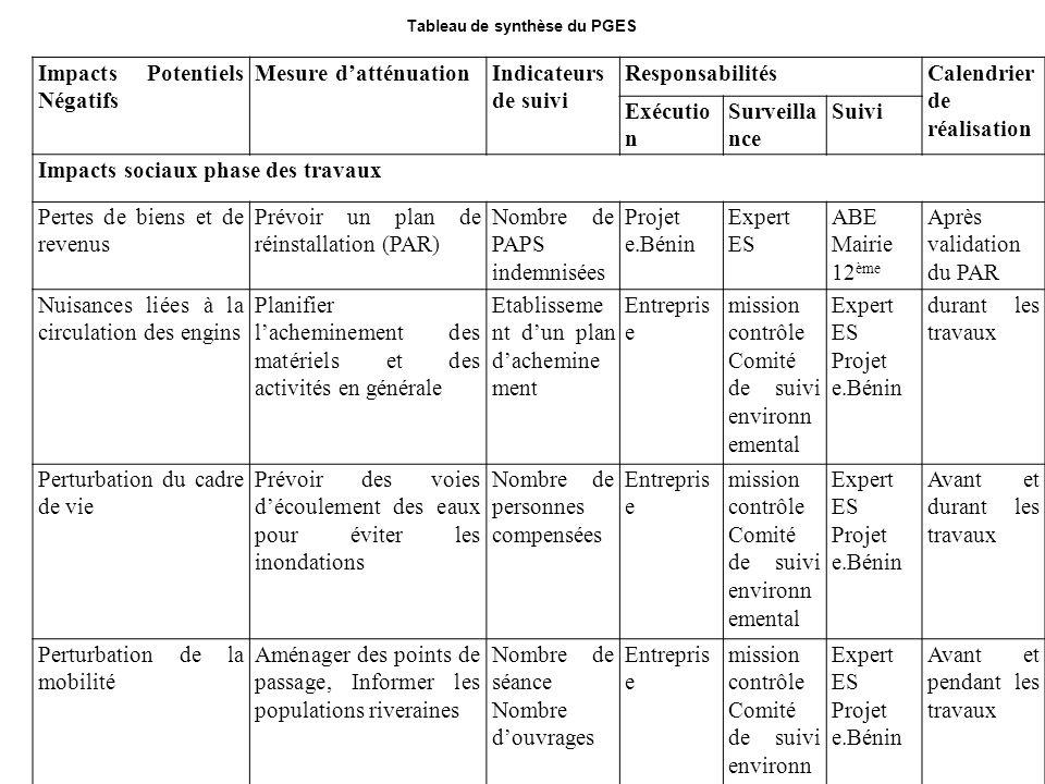 Tableau de synthèse du PGES