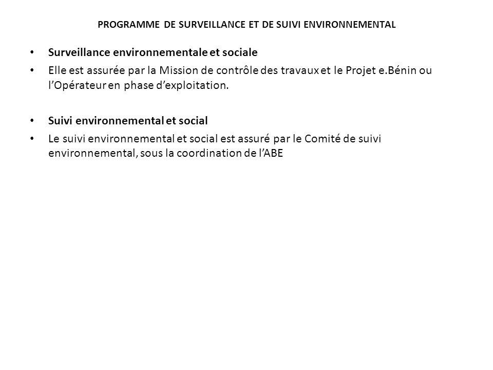 Programme de surveillance et de suivi environnemental