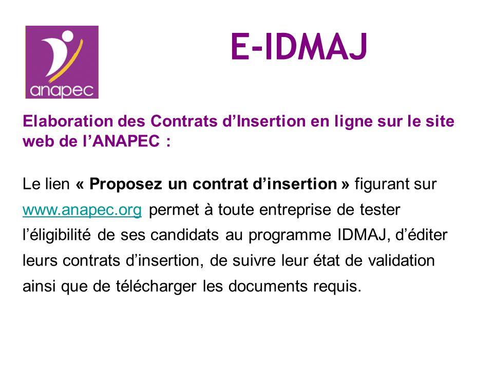 E-IDMAJ Elaboration des Contrats d'Insertion en ligne sur le site web de l'ANAPEC :