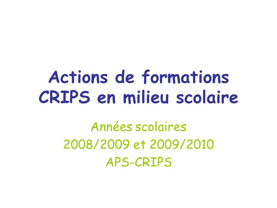 Actions de formations CRIPS en milieu scolaire