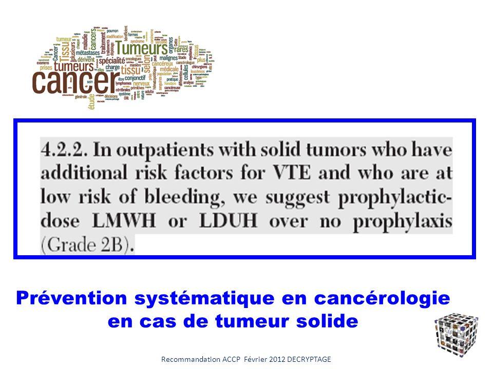 Prévention systématique en cancérologie en cas de tumeur solide