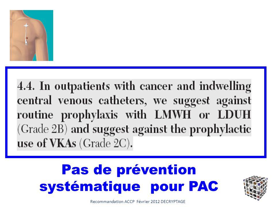 Pas de prévention systématique pour PAC