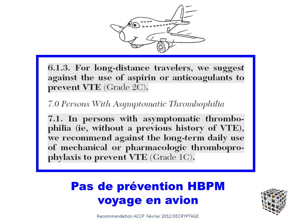 Pas de prévention HBPM voyage en avion