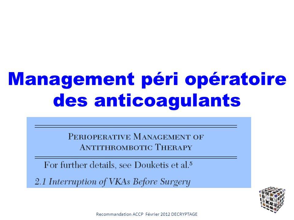 Management péri opératoire des anticoagulants