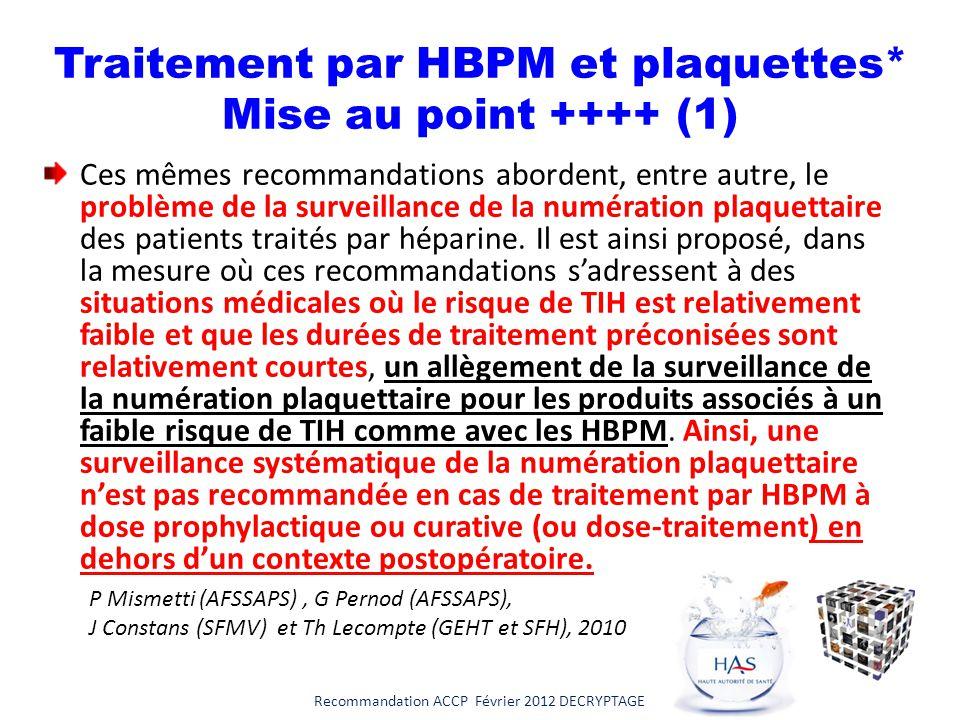 Traitement par HBPM et plaquettes* Mise au point ++++ (1)
