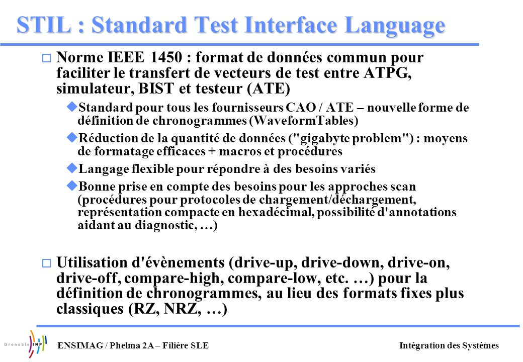 STIL : Standard Test Interface Language