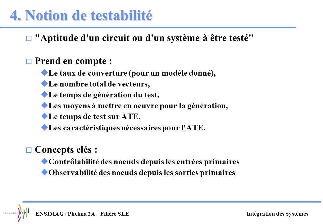 4. Notion de testabilité Aptitude d un circuit ou d un système à être testé Prend en compte : Le taux de couverture (pour un modèle donné),