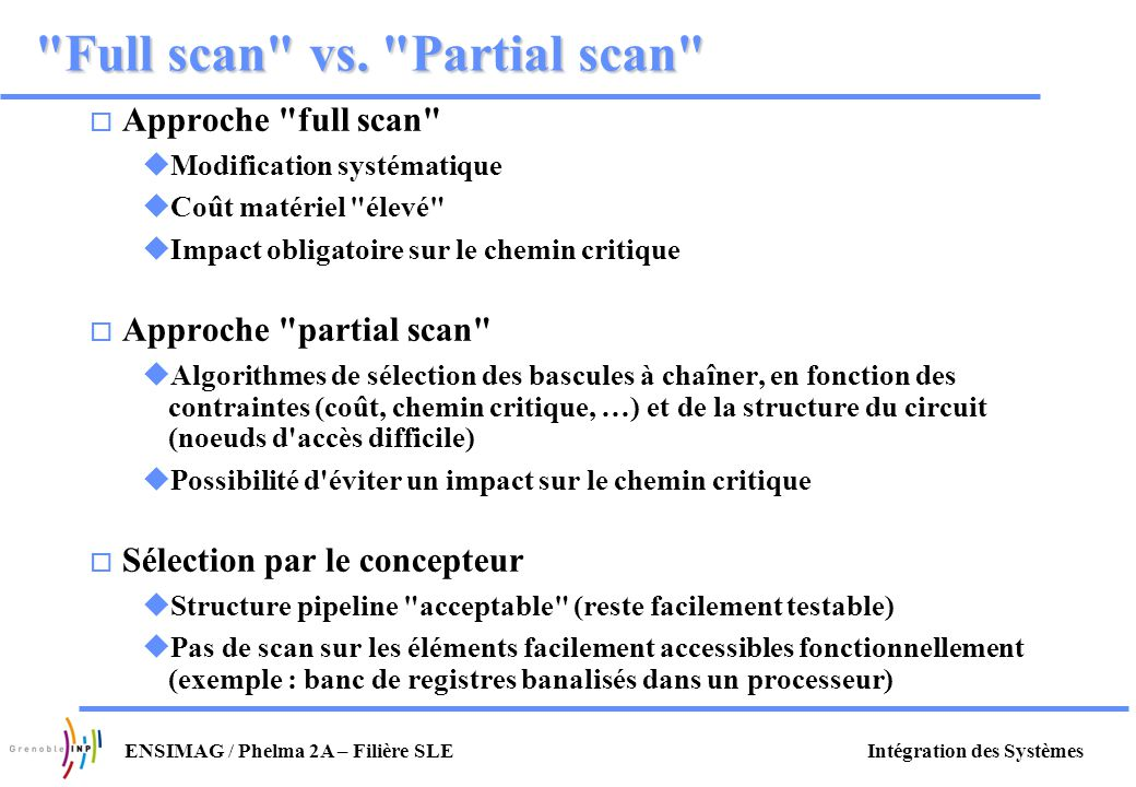 Full scan vs. Partial scan