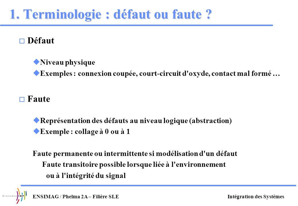 1. Terminologie : défaut ou faute
