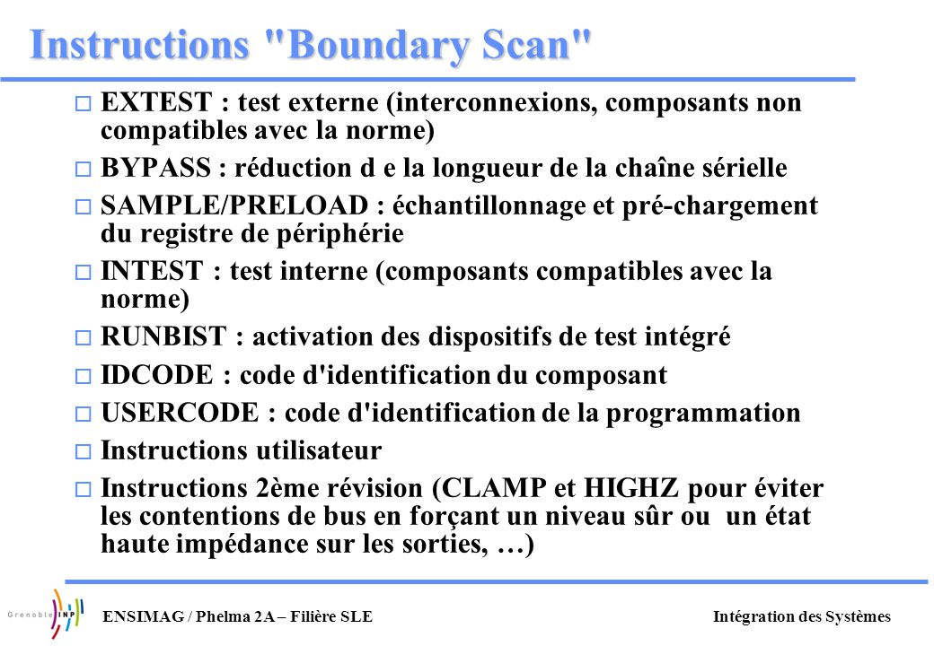 Instructions Boundary Scan