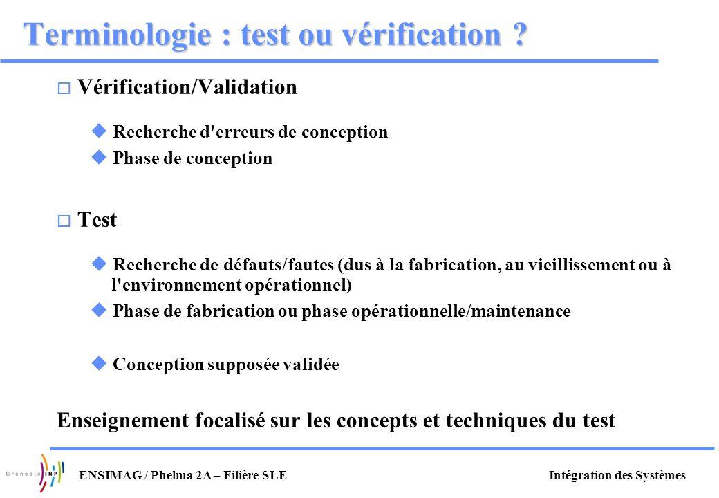 Terminologie : test ou vérification