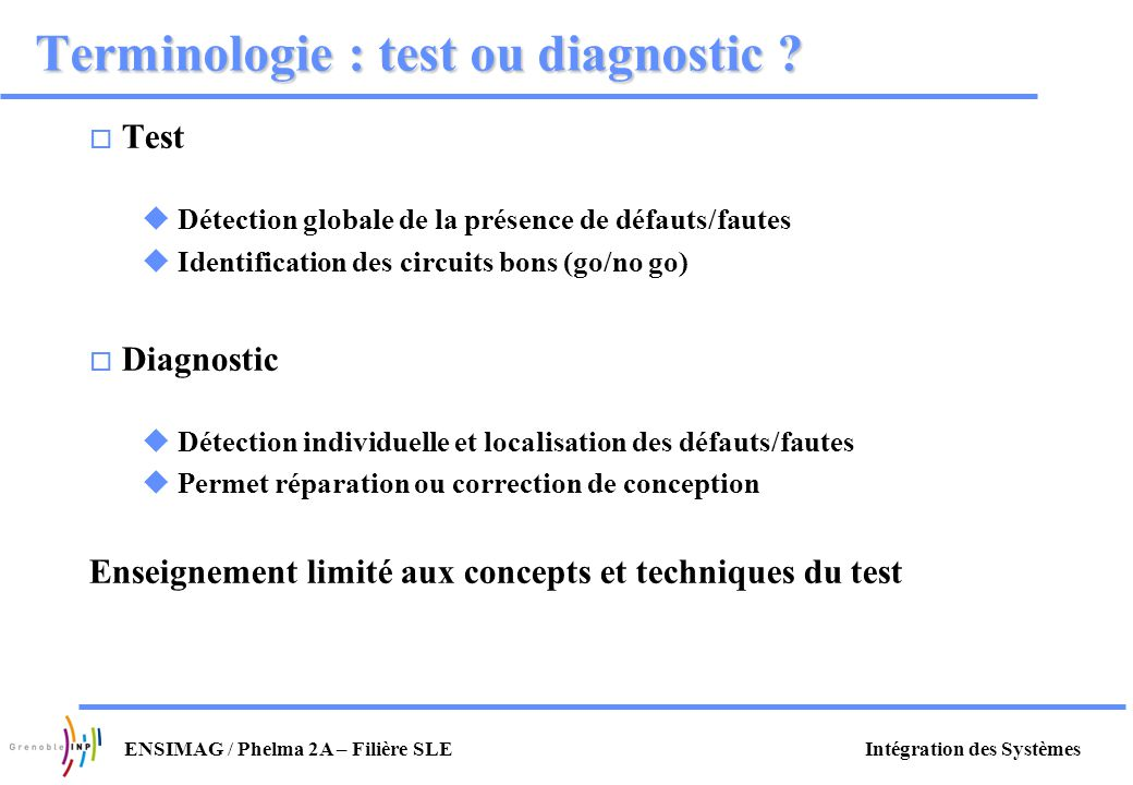 Terminologie : test ou diagnostic
