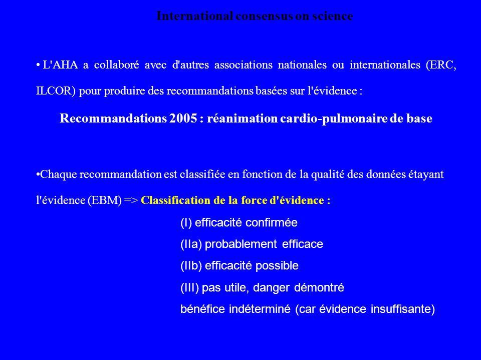 Recommandations 2005 : réanimation cardio-pulmonaire de base