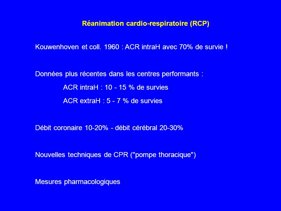 Réanimation cardio-respiratoire (RCP)
