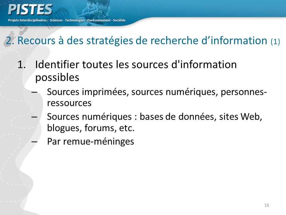 2. Recours à des stratégies de recherche d'information (1)