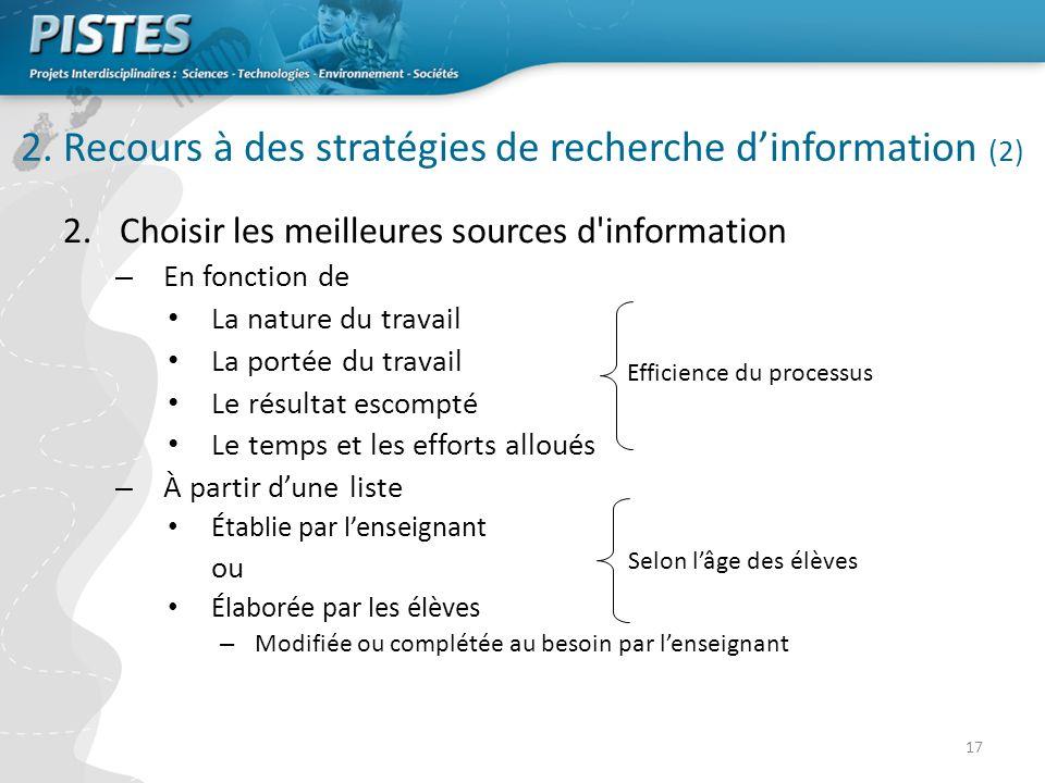 2. Recours à des stratégies de recherche d'information (2)