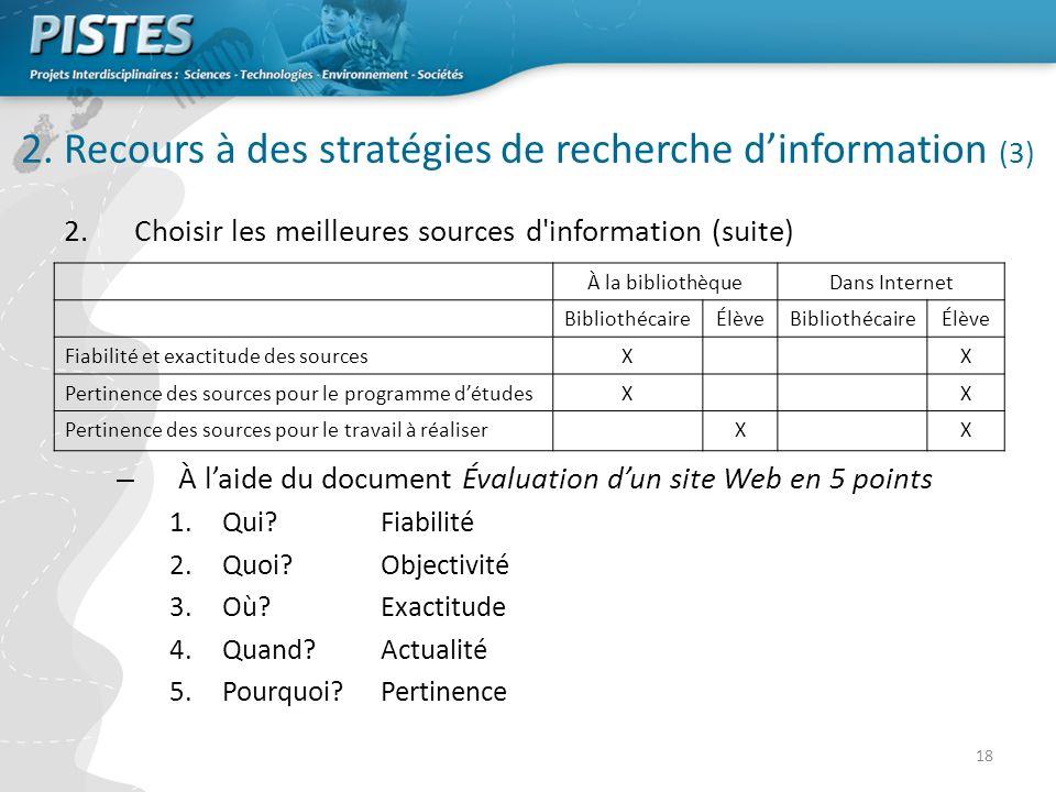 2. Recours à des stratégies de recherche d'information (3)