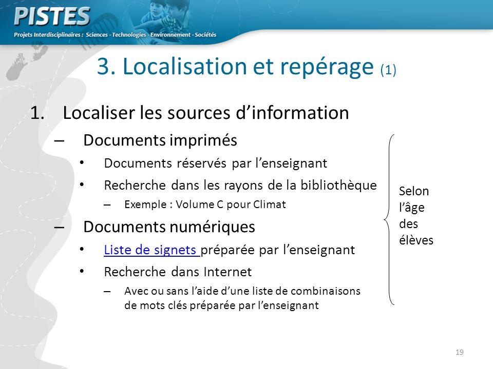 3. Localisation et repérage (1)
