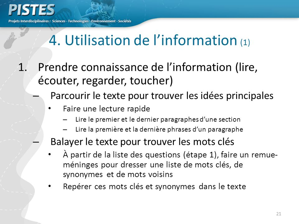 4. Utilisation de l'information (1)