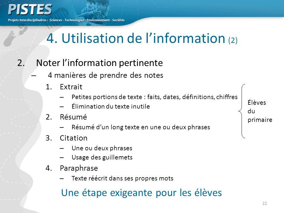 4. Utilisation de l'information (2)