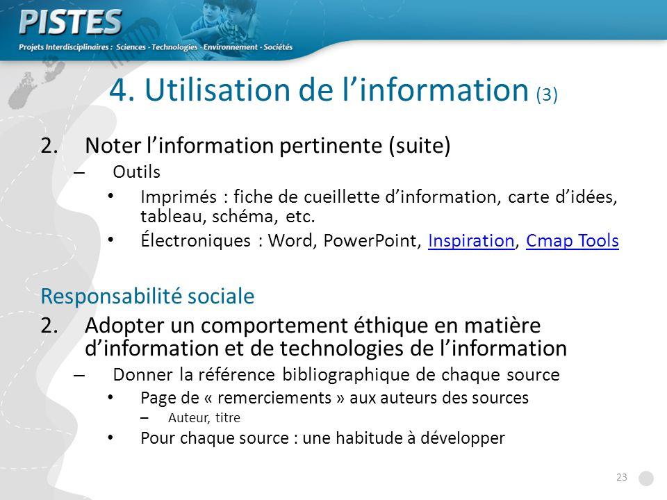 4. Utilisation de l'information (3)