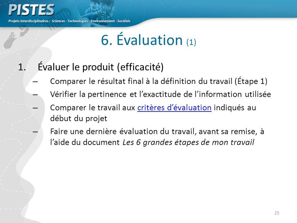 6. Évaluation (1) Évaluer le produit (efficacité)