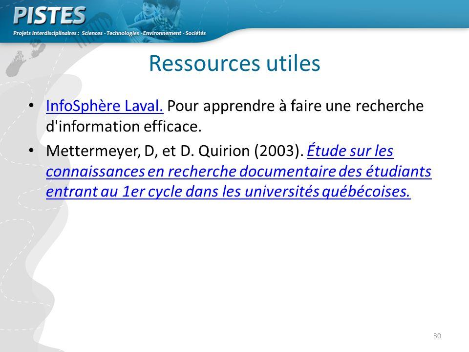 Ressources utiles InfoSphère Laval. Pour apprendre à faire une recherche d information efficace.