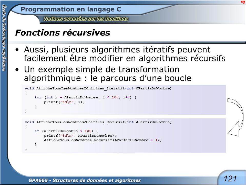 Fonctions récursives Un exemple un peu plus étayé de transformation algorithmique : le parcours d'une double boucle.