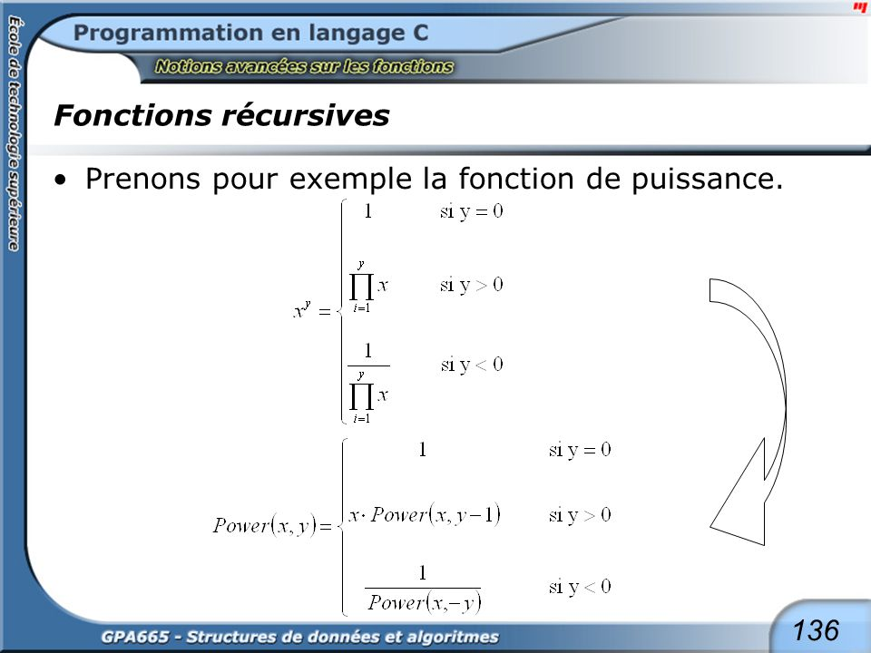 Fonctions récursives La fonction de puissance (suite) : version récursive. Version itérative. float PowerRec(float X, int Y)