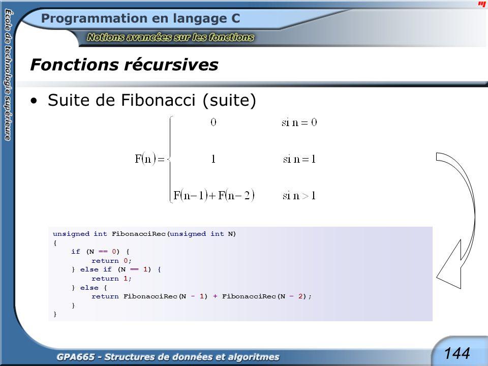 Fonctions récursives Suite de Fibonacci (suite)