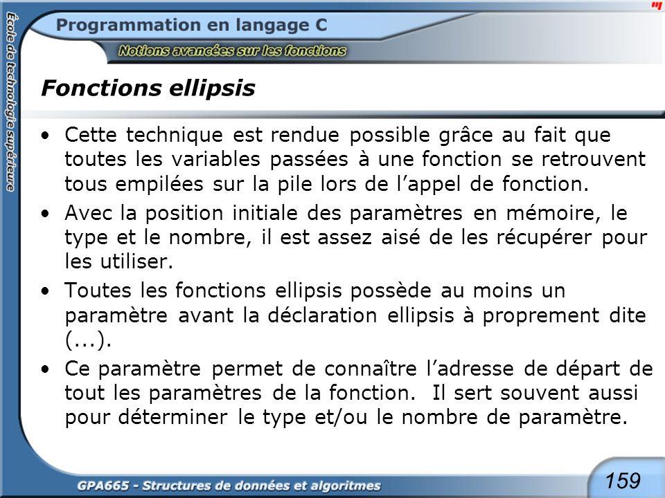 Fonctions ellipsis L'implémentation correcte de ce type de fonction requiert une grande précaution car plusieurs règles doivent être respectées :