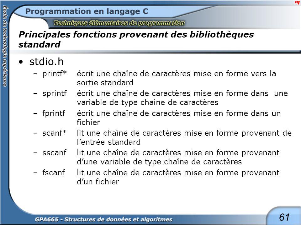 Principales fonctions provenant des bibliothèques standard