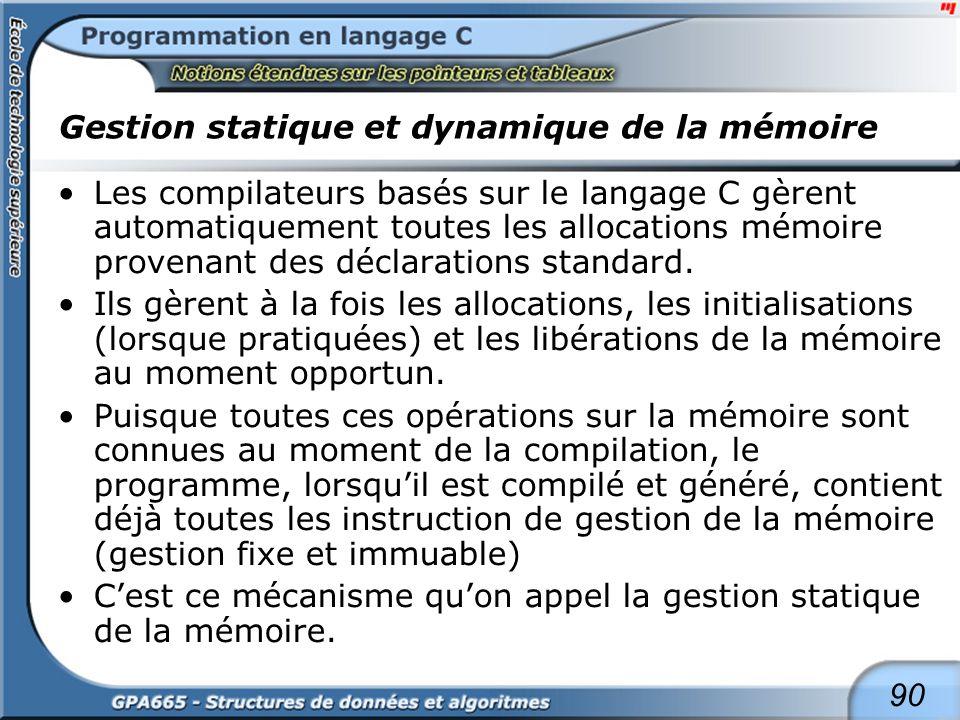 Gestion statique et dynamique de la mémoire