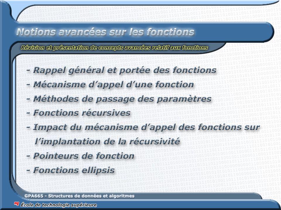 Paramètres d'une fonction :