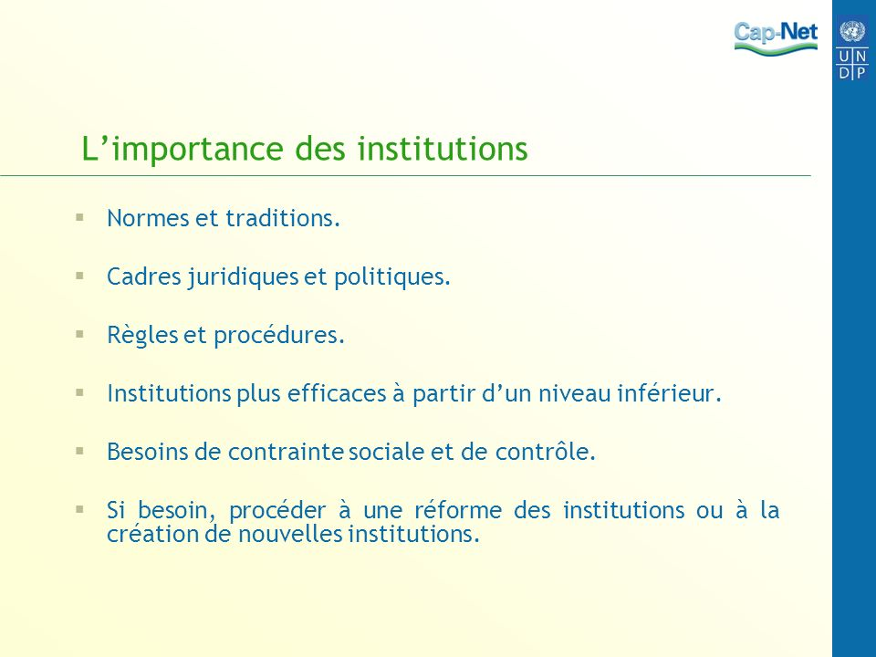 L'importance des institutions