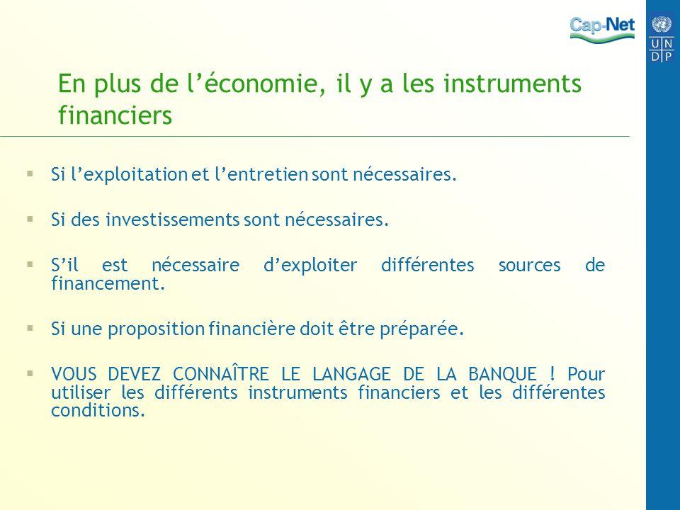 En plus de l'économie, il y a les instruments financiers