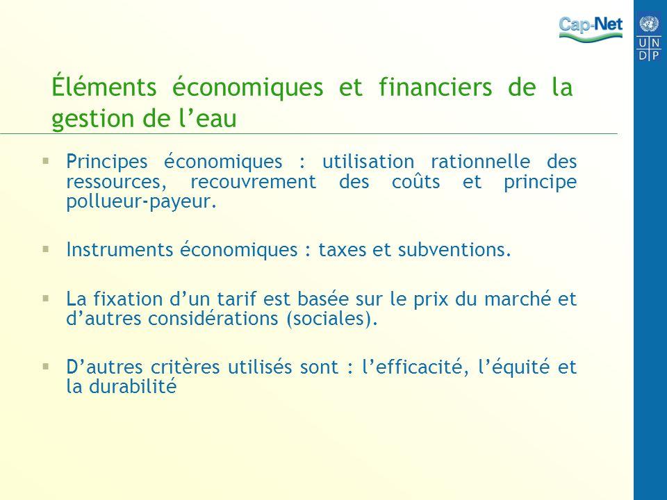 Éléments économiques et financiers de la gestion de l'eau
