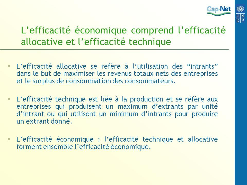 L'efficacité économique comprend l'efficacité allocative et l'efficacité technique