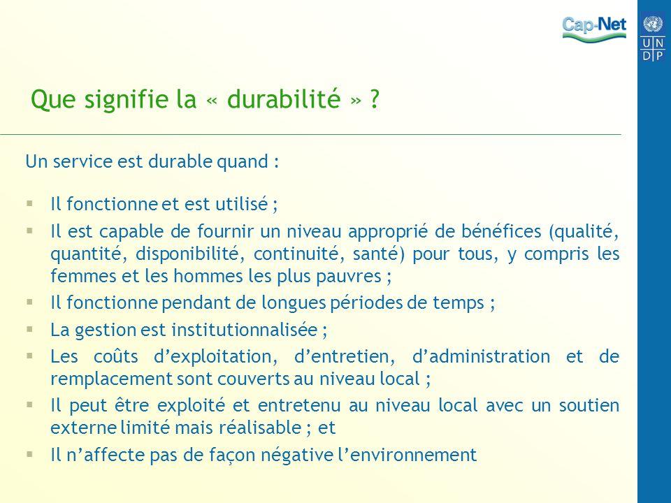Que signifie la « durabilité »