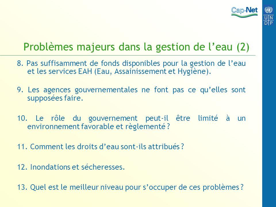 Problèmes majeurs dans la gestion de l'eau (2)