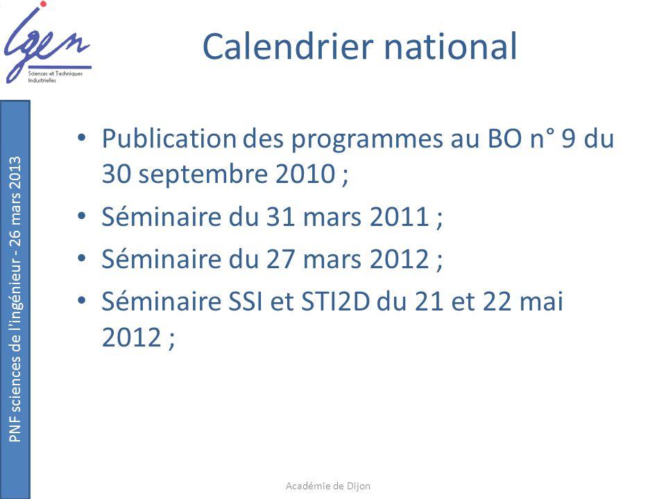 Calendrier national Publication des programmes au BO n° 9 du 30 septembre 2010 ; Séminaire du 31 mars 2011 ;
