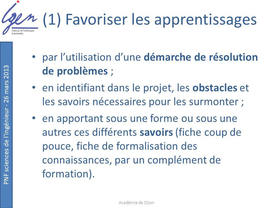 (1) Favoriser les apprentissages