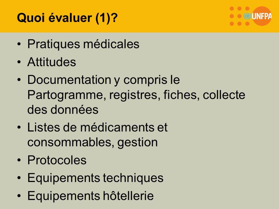 Quoi évaluer (1) Pratiques médicales. Attitudes. Documentation y compris le Partogramme, registres, fiches, collecte des données.