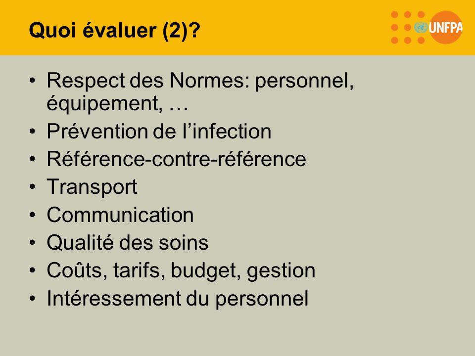 Quoi évaluer (2) Respect des Normes: personnel, équipement, … Prévention de l'infection. Référence-contre-référence.