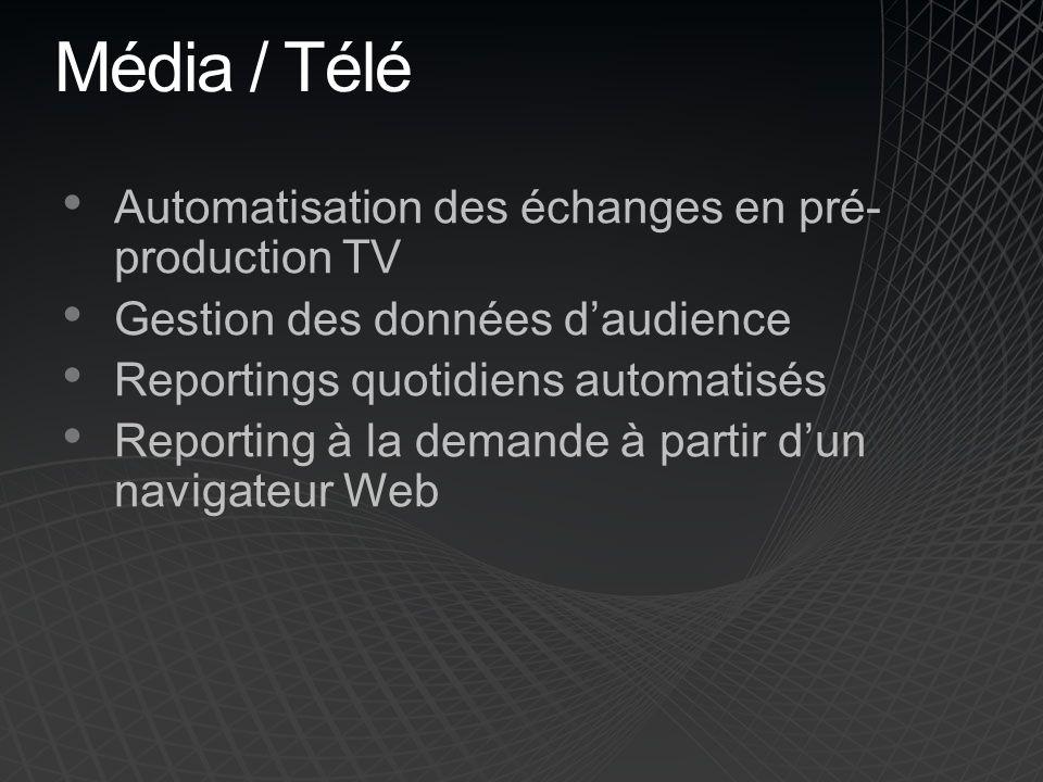 Média / Télé Automatisation des échanges en pré-production TV