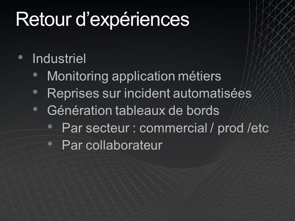 Retour d'expériences Industriel Monitoring application métiers