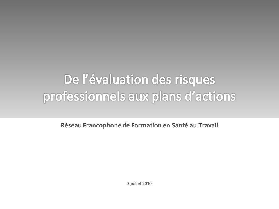 De l'évaluation des risques professionnels aux plans d'actions