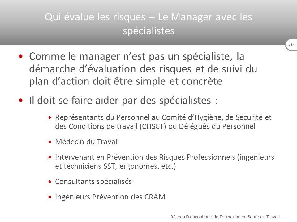 Qui évalue les risques – Le Manager avec les spécialistes