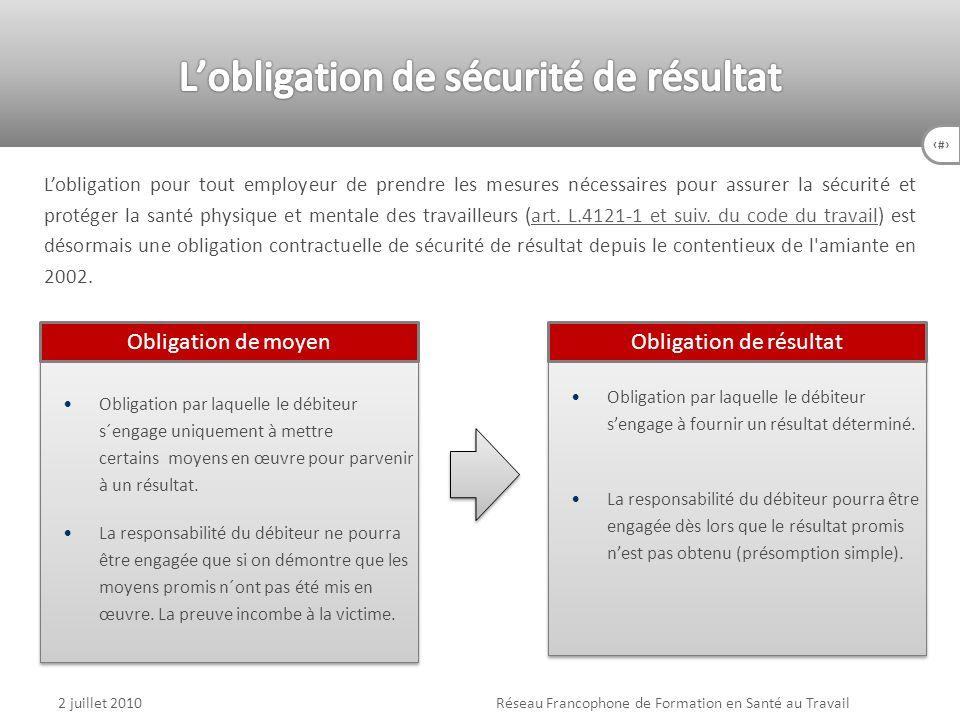 L'obligation de sécurité de résultat