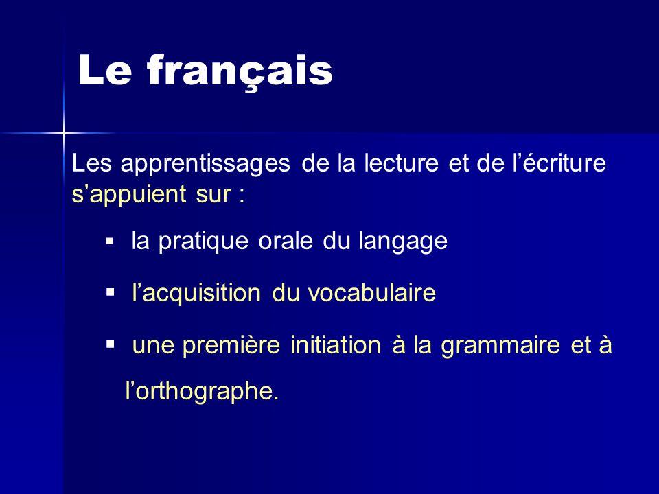 Le français Les apprentissages de la lecture et de l'écriture s'appuient sur : la pratique orale du langage.